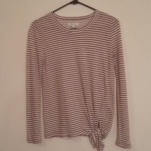 Madewell Brown/white stripe tee